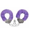 Pluche handboeien paars voor volwassenen